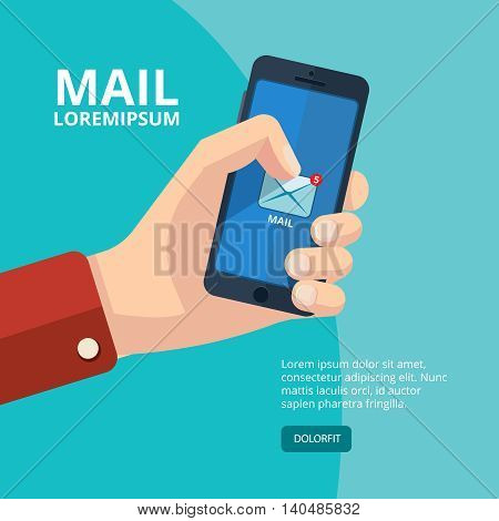 vector illustration of hand with smartphone. finger on the mail icon. Picture with place for your personal design. Isolate on dark background.