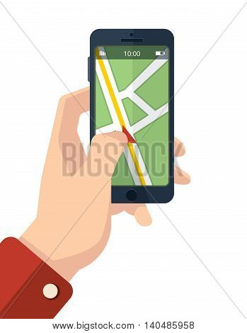 vector picture of hand with smartphone. finger on the screen with Navigation map. Isolate on white background.