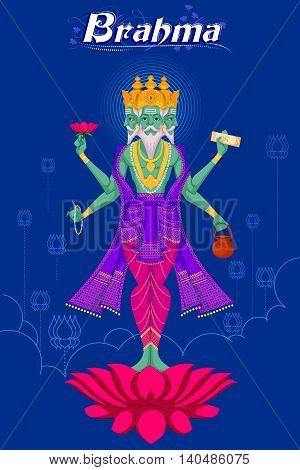 Indian God Brahma on lotus. Vector illustration