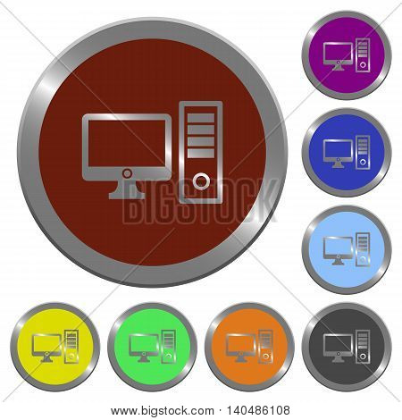 Set of color glossy coin-like desktop computer buttons.