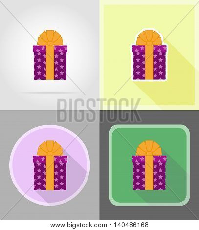 gift box with a bow flat icons vector illustration isolated on background