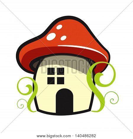 Mushroom house, fantasy, farytale -isolated on the white background