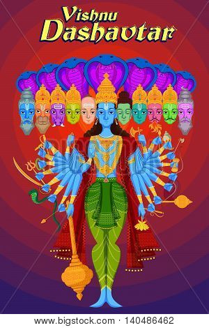 Indian God Vishnu Dashavatar with ten head of different Gods. Vector illustration