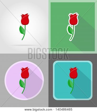 flower flat icons vector illustration isolated on background