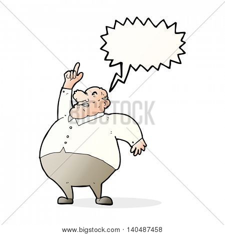 cartoon big fat boss with speech bubble