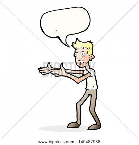 cartoon man desperately explaining with speech bubble