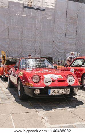 Nurnberg Bavaria / Germany - July 19th 2014: red vintage Opel GT at Sud - Rallye- Historic event in Nurnberg