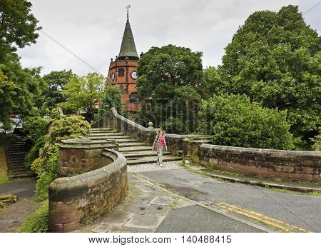 PORT SUNLIGHT, ENGLAND, JUNE 29. The Dell Bridge on June 29, 2016, in Port Sunlight, England. The historic Dell Bridge in Port Sunlight England.