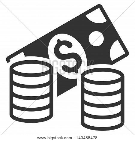 Cash icon. Vector style is flat iconic symbol with rounded angles, gray color, white background.