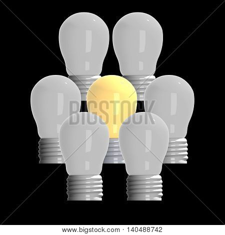 Idea concept illustration 3D rendering light bulbs that glowing among the others.