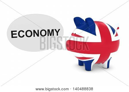 Uk Flag Piggy Bank With Economy Text Speech Bubble 3D Illustration