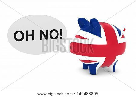 Uk Flag Piggy Bank With Oh No! Text Speech Bubble 3D Illustration