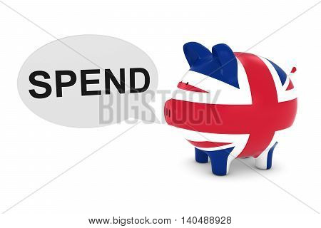 Uk Flag Piggy Bank With Spend Text Speech Bubble 3D Illustration