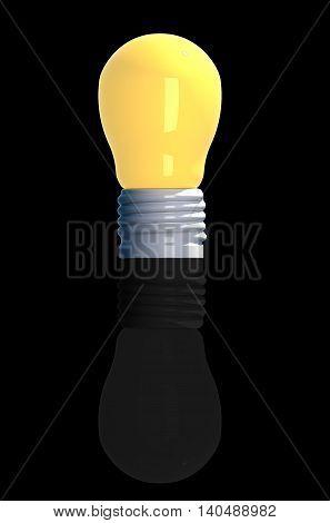 Idea concept 3D rendering light bulbs reflect on black background.