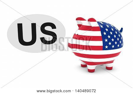 Us Flag Piggy Bank With Us Text Speech Bubble 3D Illustration