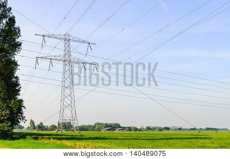 Intersecting power lines in a rural Dutch landscape. It's summer the sun is shining and the sky is blue.