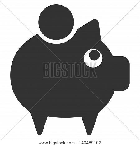 Piggy Bank icon. Vector style is flat iconic symbol with rounded angles, gray color, white background.