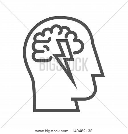 Brainstorm thin line vector icon on white background.