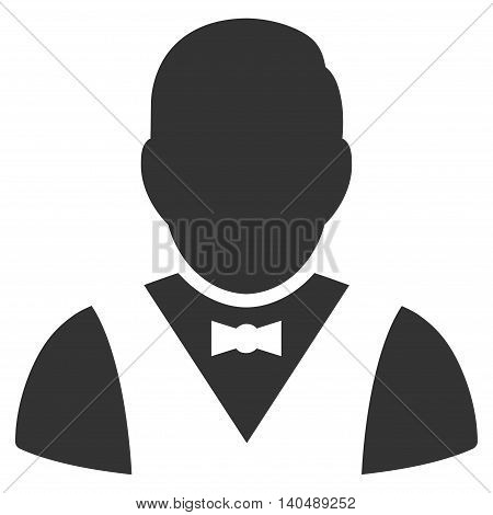 Waiter icon. Vector style is flat iconic symbol with rounded angles, gray color, white background.