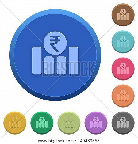 Set of round color embossed Indian Rupee graph buttons