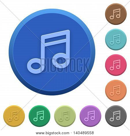 Set of round color embossed music note buttons