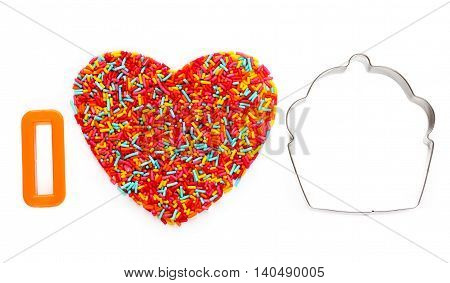I love baking concept background with cutter and sprinkling isolated