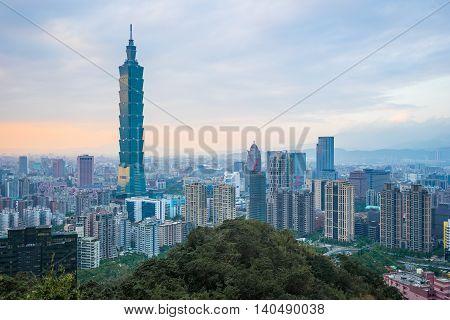 Taipei City Skyline With Sunset In Taiwan