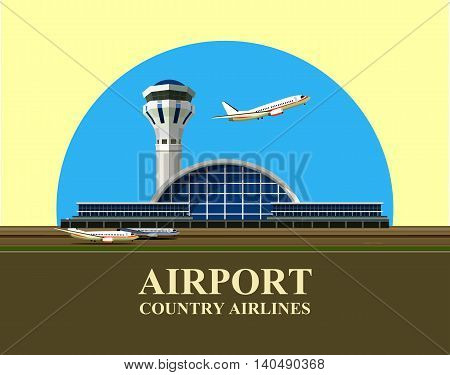 vector illustration of the airport building in retro style emblem