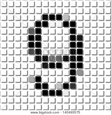 Nine. Simple Geometric Pattern Of Black Squares In Number Nine