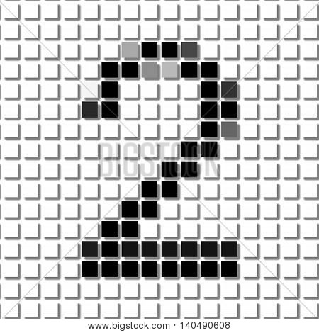 Two. Simple Geometric Pattern Of Black Squares In Number Two