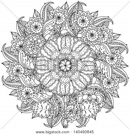 contoured mandala shape flowers for adult coloring book in zen art therapy style for anti stress drawing. Hand-drawn, retro, doodle, vector, mandala style, for coloring book or poster design.