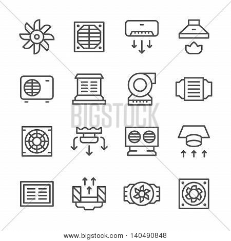 Set line icons of ventilation isolated on white. Vector illustration