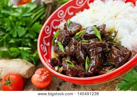 Chinese mongolian beef stir fry selective focus