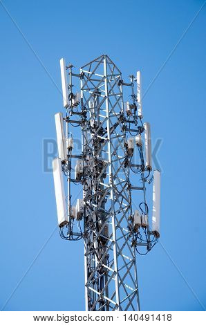transmitter antenna. Mobile phone transmitter tower. Cellular antenna.