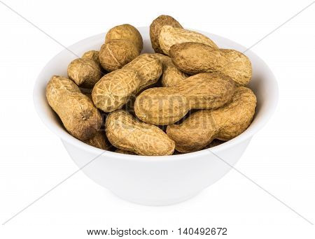 Bowl Of Roasted Peanuts In Shell On White