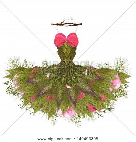 fantastic dress made of flowers on a hanger