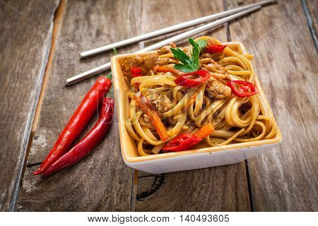 Chicken chow mein a popular oriental dish with noodles and vegetables