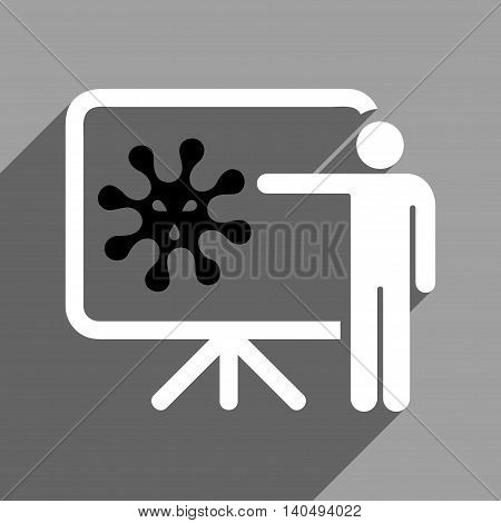 Virus Structure Lecture long shadow glyph icon. Style is a flat black and white symbol on a gray square background. Dark-gray shadow is directed to left-down.