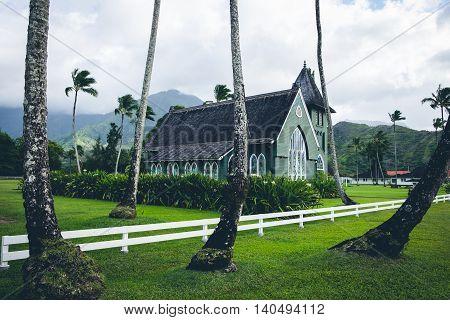 Scenic View Of Wai`oli Hui`ia Mission Church, Kauai