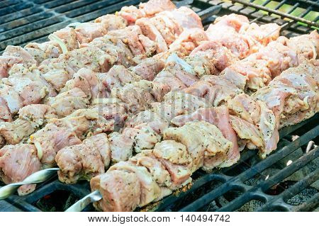 coal fire smoke barbecue lamb skewers meat skewers on the barbecue coals