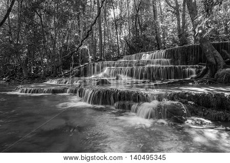 Black and White, deep forest water fall during spring in national park of Thailand