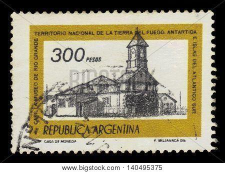 Argentina - CIRCA 1978: A stamp printed in Argentina shows Chapel of Rio Grande Museum, Tierra del Fuego, Argentina, series, circa 1978