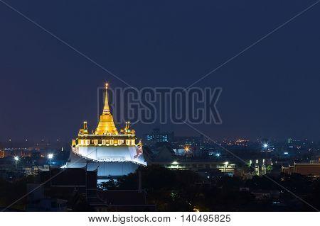 Twilight, Golden Mount Temple, Bangkok Thailand Landmark