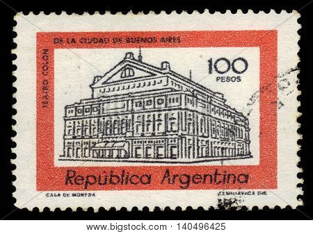 Argentina - CIRCA 1978: A stamp printed in Argentina shows Colon Theater, main opera house in Buenos Aires, Argentina, series, circa 1978
