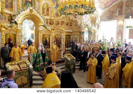 Orel Russia - July 28 2016: Russia baptism anniversary Divine Liturgy. Patriarch Kirill and clergy at sermon in orthodox church