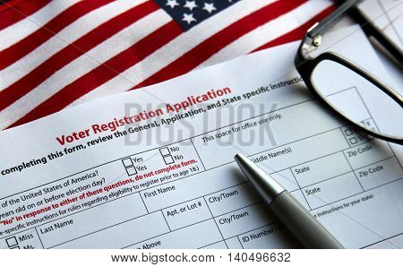 Voter registration form with flag of United States of America