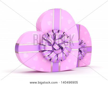 3D Rendering Pink Boxes Heart