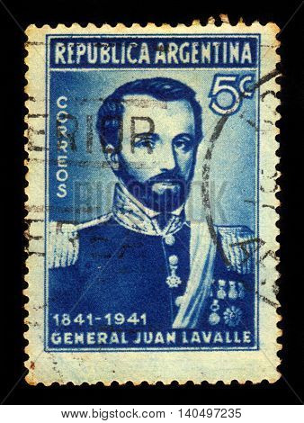 ARGENTINA - CIRCA 1941: a stamp printed in the Argentina shows general Juan Lavalle, 11th governor of Buenos Aires province, circa 1941