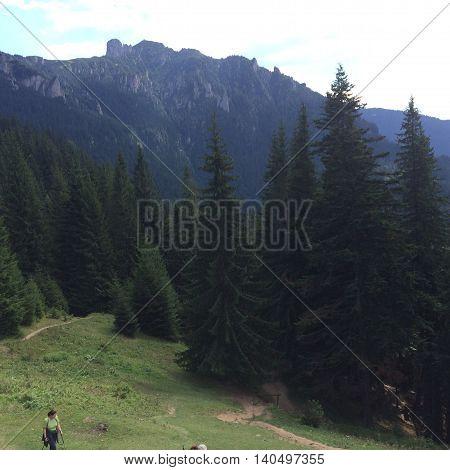 Romania, August 25, 2015, Ceahlau Massif, Moldova, People hiking the mountains