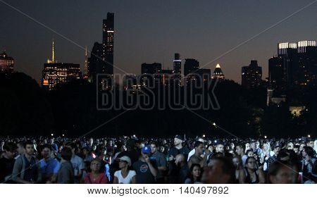 NEW YORK-SEPT 27: General view of Manhattan skyline during the 2014 Global Citizen Festival to end extreme poverty by 2030 in Central Park on September 27, 2014 in New York City.